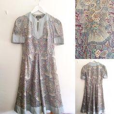 New product horizon blueburgundy vintage dress #fab.#vintageclothing #vintagefashion #ヴィンテージ #ビンテージ #ヴィンテージファッション #ヴィンテージドレス #ヴィンテージワンピース#花柄ワンピース #annabelinda