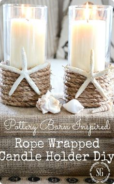 DIY Home Decor | Rope Candle Holders for Summer {Pottery Barn knock off}