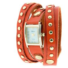 Orange wrap watch with gold studs