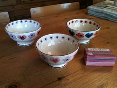 Emma Bridgewater Hearts & Flowers French Bowls Pink & Lilac dated 2005 and Blue & Red dated 2006