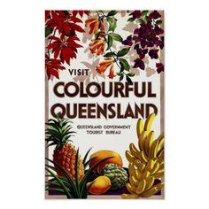 Colourful Queensland, Australia Vintage Art Poster