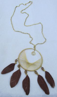 Very Long Gold Chain Necklace with a Gold Wire by ValerinaFelting, $39.95