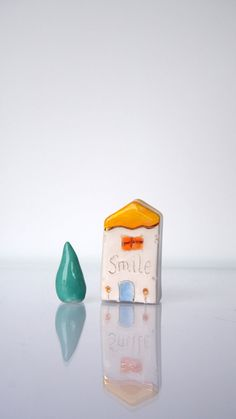 SMILE -  Ceramic Miniature House, Home Decor,  My little Clay House - Handmade Tiny ceramics sculptures, Optimistic gift