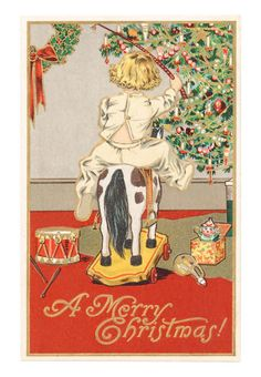 size: Art Print: Christmas Greetings from Oregon - Girl on Horse by Lantern Press : Artists Christmas Past, Christmas Greetings, Christmas Child, Christmas Crafts, Vintage Christmas Cards, Vintage Cards, Vintage Images, Holiday Cards, Horse Posters