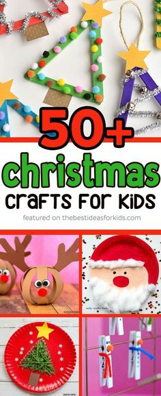 Over 50 Christmas Crafts for Kids - so many fun ideas! From popsicle stick paper plate reindeer santa snowmen christmas tree snowflake crafts and more! Perfect for toddlers and preschoolers Kids Crafts, Santa Crafts, Toddler Crafts, Preschool Crafts, Christmas Crafts For Kindergarteners, Kids Holiday Crafts, Christmas Decorations With Kids, Christmas Crafts For Kids To Make Toddlers, Christmas Projects For Kids