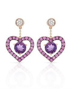 VIDA - Heart Earrings With 2.15ctw Genuine Amethysts,  Clean Diamonds and pink Sapphires -  14K Rose Gold Length 20mm - Certificate Available. | Bidz.com Jewelry Auctions
