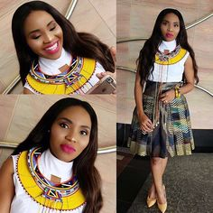 This combo is absolutely unique and classy. The outfit and neck piece portrays a modern stylish africa woman. Zulu Traditional Attire, South African Traditional Dresses, Traditional Skirts, Traditional Outfits, African Wedding Attire, African Attire, African Wear, African Dress, African Outfits