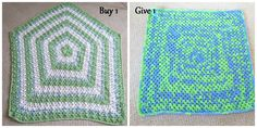 """Baby Blanket Green, Blue/Green/White mix, & white 48"""" pentagon $45 + $12 shipping. Bear not included The blanket on the right will be donated to charity."""