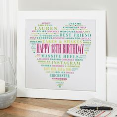 Birthday Gift for Girls of Typographic Love Heart – Presents for girls 18th Birthday Gifts For Girls, Birthday Presents For Her, Presents For Girls, Personalized Birthday Gifts, Personalised Gifts, Birthday Wishes Greetings, Birthday Words, Word Art, Free Delivery
