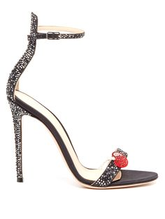 Cherry crystal-embellished satin sandals | Gianvito Rossi | MATCHESFASHION.COM