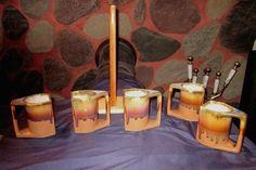 5 Padilla Pottery Squarish Rainbow Drip Mugs Set Tree-Rack Made in Mexico signed