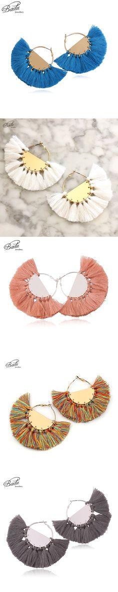 Badu Gold Hoop Tassel Earring Women Statement 7 Colors Big Fringe Earrings Exaggerate Fan Shape 2017 Trendy Jewelry Holiday Gift