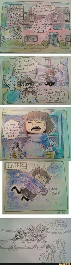 undertale, frisk - parden the language. but the comic's really funny XD---Loving the orphanage's sign. <<< funniest thing I've seen in days Undertale Undertale, Undertale Comic Funny, Undertale Drawings, Frisk, Sr Pelo, Toby Fox, Mini Comic, Indie Games, Monster