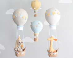Hot Air Balloon Baby Mobile Elephant Mobile by sunshineandvodka