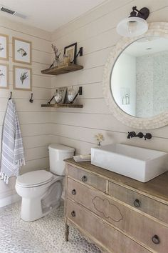 "magicalhome: "" Two favorites in this bathroom- an old dresser turned into a vanity, and shiplap. I love that pebble floor and want to try to do it myself. Jenna Sue Design Co. """