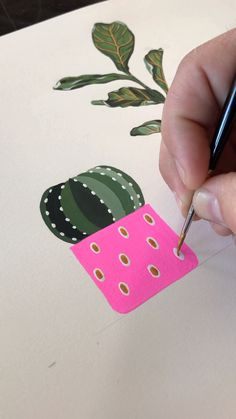 Gouache Painting by Philip Boelter Time lapse painting of a potted domino cactus. Check out the completed art print and get one for your home. See more at by Artist Philip Boelter.Time lapse painting of a potted domino cactus. Check out the completed art Art And Illustration, Illustrations Posters, Cactus Illustration, Succulents Drawing, Succulents Art, Art Du Croquis, Cactus Painting, Art Drawings Beautiful, Gouache Painting