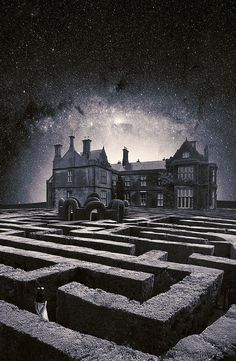 Hedge maze and mansion. By LuisBeltrán El Laberinto. Would be awesome to have a haunted house where you had to go through a haunted maze before getting to the haunted mansion attraction! Images Lindas, Fantasy World, Fantasy Art, Maze Runner Characters, Labyrinth Maze, Poster Design, Montage Photo, Story Inspiration, Dark Art