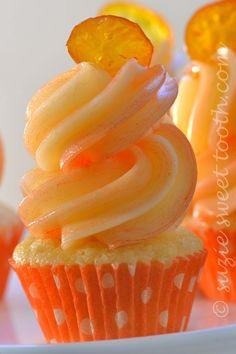 Tangerine/Vanilla Cupcakes with Candied Kumquats