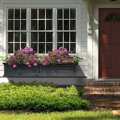 Fairfield Window Box Planter at Brookstone—Buy Now! Front Porch Garden, Front Yard Landscaping, Landscaping Design, Box Architecture, Window Box Flowers, Window Planter Boxes, Farmhouse Windows, House Front, Geraniums
