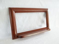 Large mahogany wood frame with shelf. Blank for mirror, magnet board, bulletin board cork board chalk board whiteboard message center entry