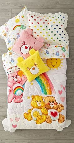 Bedtime is fun when you have a sleepover with friends, and our Care Bears Bedding makes the perfect companion, day or night. Childhood Toys, Childhood Memories, Retro, Deco Kids, Baby Store, Kids Store, How To Make Bed, Sleepover, Crate And Barrel
