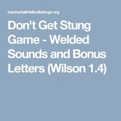 Don't Get Stung Game - Welded Sounds and Bonus Letters (Wilson 1.4)