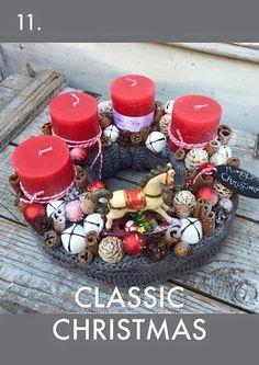 Xmas Christmas Advent Wreath, Christmas Time, Christmas Crafts, Christmas Decorations, Advent Wreaths, Christmas Ideas, Holidays And Events, Wonderful Time, Centerpieces