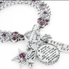 Stars of the Sky silver charm bracelet, star jewelry, celestial charm bracelet - Blackberry Designs Jewelry