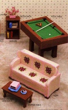 Diy barbie furniture with plastic canvas free stuff for Skilled craft worker makes furniture art etc