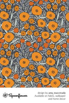 Customize your own home decor, #wallpaper and #fabric at Spoonflower. Shop your favorite indie designs on #fabric, #wallpaper and home decor products on Spoonflower, all printed with #eco-friendly inks and handmade in the United States. #patterndesign #textildesign #pattern #digitalprinting #homedecor #flowers# orange #autmn #floral William Morris Wallpaper, Morris Wallpapers, Fabric Wallpaper, Floral Designs, Watercolor Flowers, Custom Fabric, Spoonflower, Diy Wedding, Pattern Design