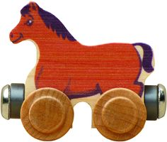 Morgan horses originated in Vermont as did this animal car. Morgan the Horse is crafted from local sustainably harvested native maple hardwood and is compatible with our and other wooden railway syste