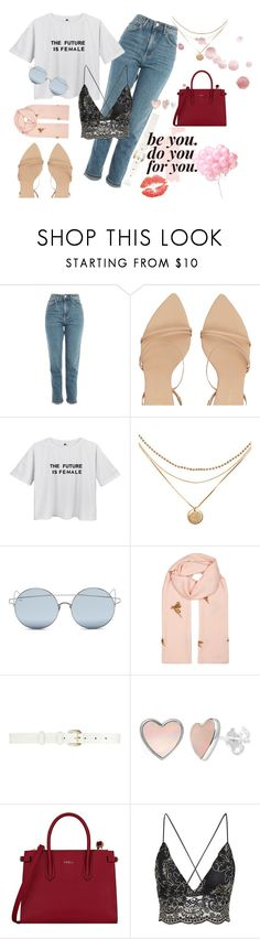 """the future is female"" by franmanqueo ❤ liked on Polyvore featuring Topshop, Zimmermann, For Art's Sake, Janavi, Oscar de la Renta and Furla"