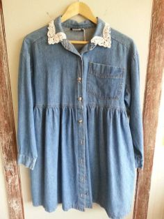 Vintage Blue Denim Baby Doll Dress~90s Grunge