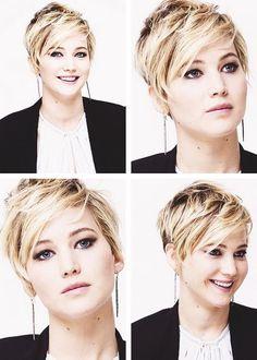 Coupes de cheveux courts Jennifer Lawrence visage rond