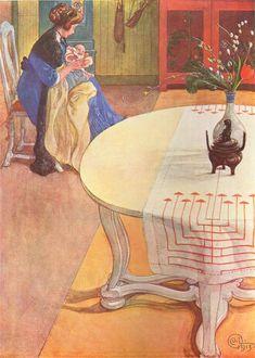 """Carl Larsson """"Gunlög med Mamma (Suzanne)"""" (1913), ur Andras barn. Akvarell."""