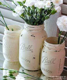 Shabby Set Annie Sloan Chalk Paint Mason Jar by dropclothdesignco
