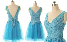 Tulle Homecoming Dress,Lace Homecoming Dress,Blue Homecoming Dress,Fitted Homecoming Dress,Short Prom Dress
