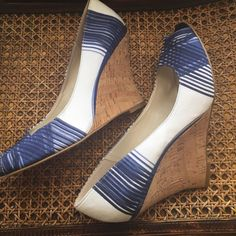 Nine West Blue Stripe Cork Wedges These are perfect for that sailor look! Pair these with the blue blazer also listed in my closet and you are on your way to the look! These are preloved but in great condition! Nine West Shoes Wedges