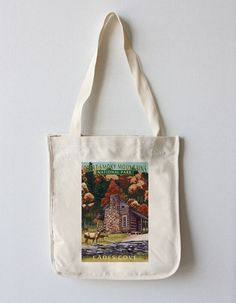 Tote Bag (Great Smoky Mountains National Park, Tennessee - Cades Cove & John Oliver Cabin - Lantern Press Art)