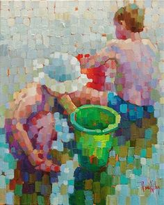 Summer Siblings-Rene' Wiley-20x16 Inches-Oil on Canvas by René Wiley Gallery Oil ~ 20 x 16