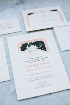 1920s vintage style wedding invite   Design Bash Please   Photo by Birds Of a Feather   Read more - http://www.100layercake.com/blog/?p=68105
