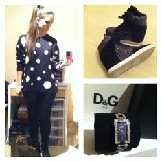 Pull Mango  Legging Zara  Sneakers Office  Watch D&G  Bag Louis Vuitton