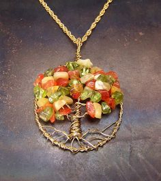 Fall Tree of Life necklace - Fall Tree of Life pendant - Autumn - necklace pendant chain - gold tones - Peridot Opal Carnelian. $30.00, via Etsy.