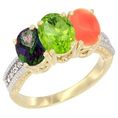 14K Yellow Gold Natural Mystic Topaz, Peridot and Coral Ring 3-Stone 7x5 mm Oval Diamond Accent, sizes 5 - 10 -- Discover this special product, click the image : Ring Bands