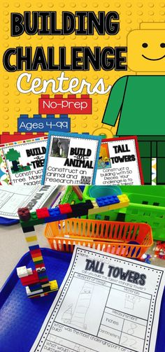 Building Challenge STEM and Writing Centers  These centers have students building and writing about their build. There are challenges that include measurement, research and writing that go along with each build. #STEM #LEGO #CHALLENGE