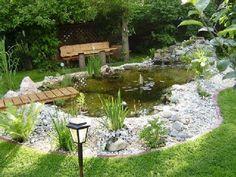 Charmant Teich, Gartenteich, Garten, Gartengestaltung, Wasser, Fischteich, Stein,  Wiese, Gartenwiese