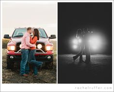 pickup truck with lights, country engagement session