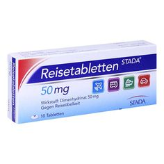 REISETABLETTEN STADA - Reisetabletten Stada sind ein Arzneimittel gegen Übelkeit und Erbrechen aus der Gruppe der H1-Antihistaminika. Rechtzeitig vor Reisebeginn sollte eine Reisetablette eingenommen werden.