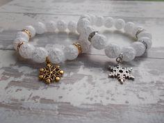 White & Gold Snowflake Frozen Bracelet by BreakingHeartsJewels Kids Bracelets, Handmade Bracelets, Beaded Bracelets, Handmade Gifts, Best Friends Sister, Sister Wedding, Gifts For Girls, Personalized Wedding, Snowflakes