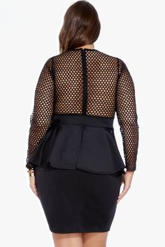 6621e2061c Plus Size Amara Mesh Scuba Peplum Dress | Fashion To Figure Fashion To  Figure, Plus
